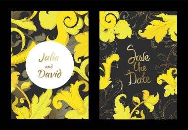 Vector Gold monogram floral ornament. Black and white engraved ink art. Wedding background card decorative border. Thank you, rsvp, invitation elegant card illustration graphic set banner. clip art vector