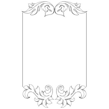 Vector Baroque monogram floral ornament. Baroque design elements. Black and white engraved ink art. Frame border ornament square on white background. stock vector