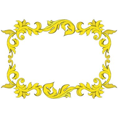 Vector Golden monogram floral ornament. Baroque design elements. Black and white engraved ink art. Frame border ornament square on white background. clip art vector