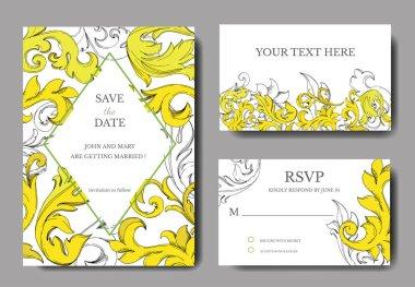 Vector Golden monogram floral ornament. Black and white engraved ink art. Wedding background card decorative border. Thank you, rsvp, invitation elegant card illustration graphic set banner. clip art vector