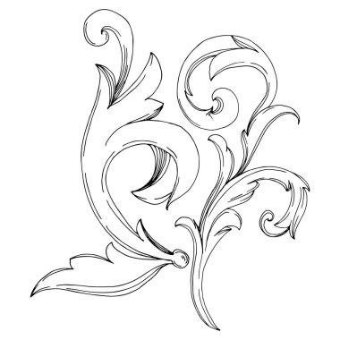Vector Golden Monogram floral ornament. Baroque design elements. Black and white engraved ink art. Isolated ornaments illustration element on white background. clip art vector