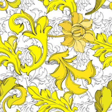 Vector Golden monogram floral ornament. Baroque design isolated elements. Black and white engraved ink art. Seamless background pattern. Fabric wallpaper print texture. clip art vector