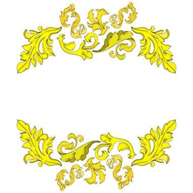 Vector Golden monogram floral ornament. Baroque design isolated elements. Black and white engraved ink art. Frame border ornament square on white background. clip art vector
