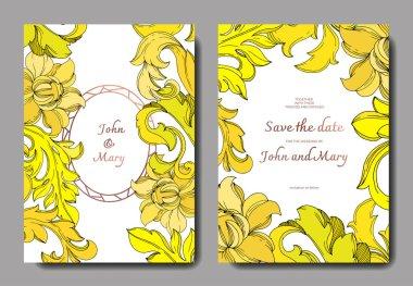Vector Golden monogram floral ornament. Black and white engraved ink art. Wedding background card floral decorative border. Thank you, rsvp, invitation elegant card illustration graphic set banner. clip art vector