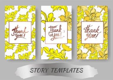 Vector Golden monogram floral ornament. Black and white engraved ink art. Wedding background card floral decorative border. Thank you, rsvp, invitation elegant card illustration graphic set banner. stock vector