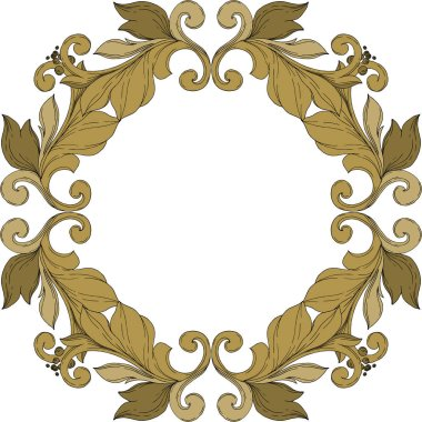 Vector Golden monogram floral ornament. Baroque design elements. Black and white engraved ink art. Frame border ornament square on white background. clip art vector
