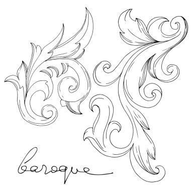 Vector Baroque Monogram floral ornament. Vintage design elements. Black and white engraved ink art. Isolated ornament illustration element on white background. clip art vector
