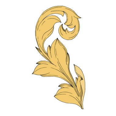 Vector Golden monogram floral ornament. Baroque design elements. Black and white engraved ink art. Isolated ornament illustration element on white background. clip art vector