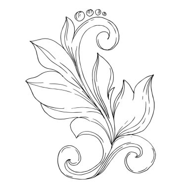 Vector Golden monogram floral ornament. Baroque design elements. Isolated ornament illustration element on white background. Black and white engraved ink art. stock vector