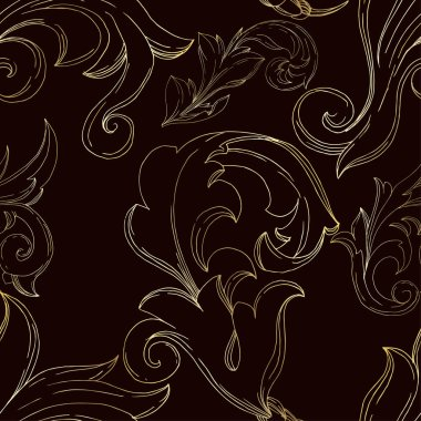 Vector Golden monogram floral ornament. Baroque design elements. Black and white engraved ink art. Seamless background pattern. Fabric wallpaper print texture. stock vector