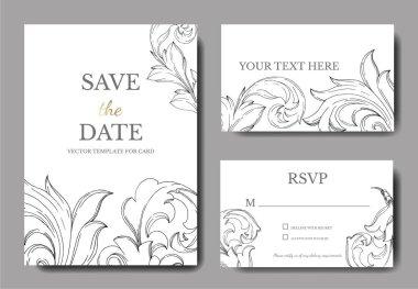 Vector Baroque monogram floral ornament. Black and white engraved ink art. Wedding background card floral decorative border. Thank you, rsvp, invitation elegant card illustration graphic set banner. stock vector