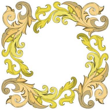 Vector Golden monogram floral ornament. Baroque design elements. Black and white engraved ink art. Frame border ornament square on white background. stock vector