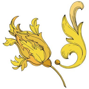 Vector Golden monogram floral ornament. Baroque design isolated elements. Black and white engraved ink art. Isolated monogram illustration element. clip art vector