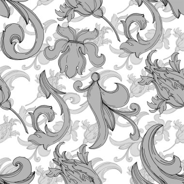 Vector Baroque monogram floral ornament. Baroque design isolated elements. Black and white engraved ink art. Seamless background pattern. Fabric wallpaper print texture. stock vector
