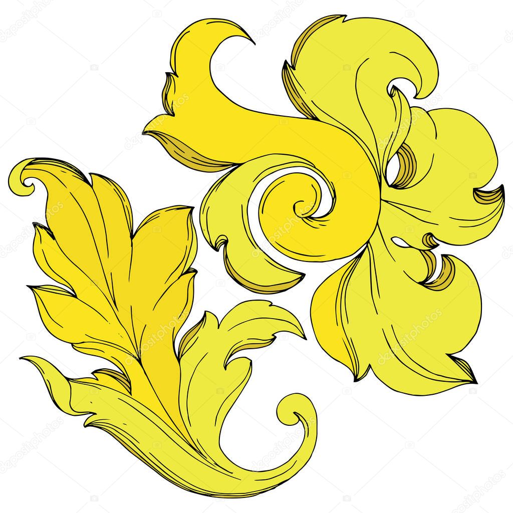 Vector Gold monogram floral ornament. Baroque design isolated elements. Black and white engraved ink art. Isolated ornaments illustration element on white background. clipart vector