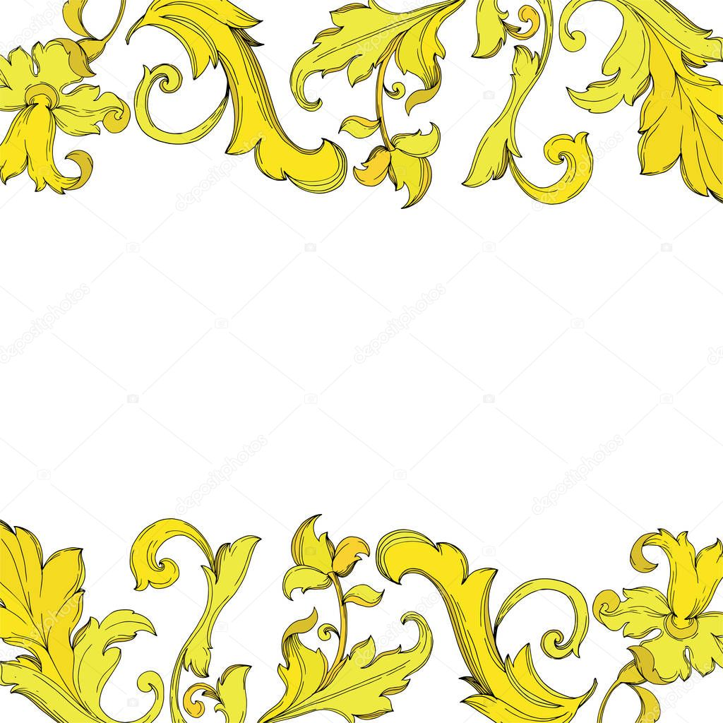 Vector Gold monogram floral ornament. Baroque design isolated elements. Black and white engraved ink art. Frame border ornament square on white background. clipart vector