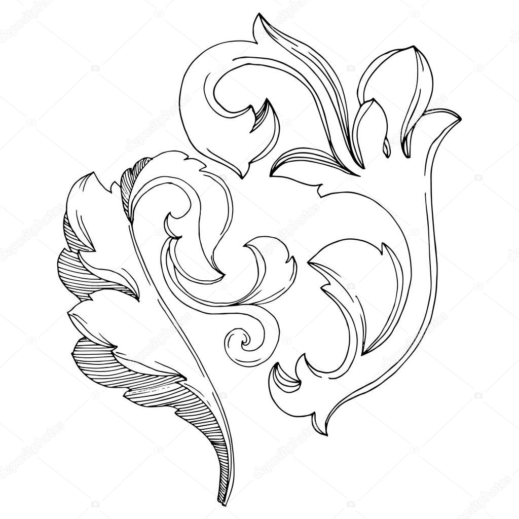 Vector Golden monogram floral ornament. Baroque design isolated elements. Black and white engraved ink art. Isolated monograms illustration element. clipart vector