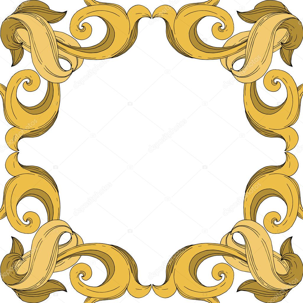 Vector Golden monogram floral ornament. Baroque design elements. Black and white engraved ink art. Frame border ornament square on white background. clipart vector