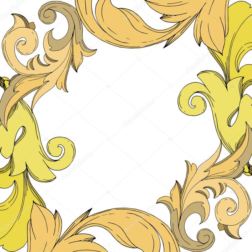 Vector Golden monogram floral ornament. Baroque design elements. Black and white engraved ink art. Frame border ornament square on white background. clipart vector