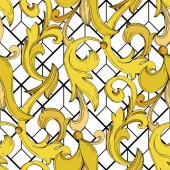 Vektor goldenes Monogramm florales Ornament. Schwarz-weiß gestochene Tuschekunst. nahtloses Hintergrundmuster.