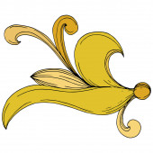 Vektor goldenes Monogramm florales Ornament. Schwarz-weiß gestochene Tuschekunst. Isoliertes Monogramm-Illustrationselement.