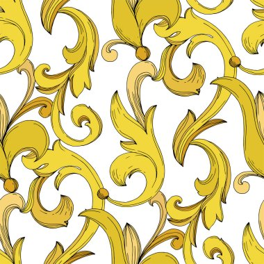 Vector Golden monogram floral ornament. Baroque design isolated elements. Black and white engraved ink art. Seamless background pattern. Fabric wallpaper print texture. stock vector