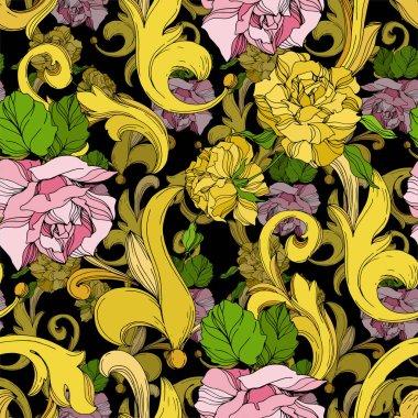 Vector Golden monogram floral ornament. Baroque design elements. Black and white engraved ink art. Seamless background pattern. stock vector