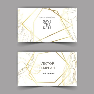 Vector Summer beach seashell tropical elements. Golden engraved ink art. Wedding background card decorative border. Thank you, rsvp, invitation elegant card illustration graphic set banner. clip art vector