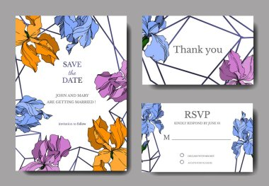 Vector Iris floral botanical flowers. Black and white engraved ink art. Wedding background card decorative border. Thank you, rsvp, invitation elegant card illustration graphic set banner. stock vector
