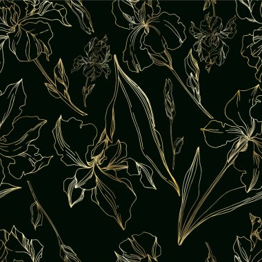 Vector Iris floral botanical flowers. Wild spring leaf wildflower isolated. Black and white engraved ink art. Seamless background pattern. Fabric wallpaper print texture. clip art vector