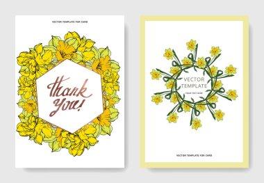 Vector Narcissus floral botanical flowers. Black and white engraved ink art. Wedding background card decorative border. Thank you, rsvp, invitation elegant card illustration graphic set banner. clip art vector