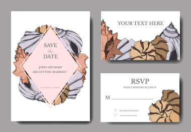 Vector Summer beach seashell tropical elements. Black and white engraved ink art. Wedding background card decorative border. Thank you, rsvp, invitation elegant card illustration graphic set banner. clip art vector