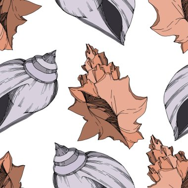 Vector Summer beach seashell tropical elements. Black and white engraved ink art. Seamless background pattern. Fabric wallpaper print texture on white background. clip art vector