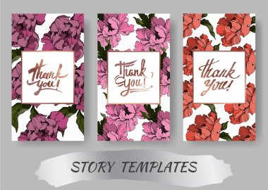 Vector Peony floral botanical flowers. Black and white engraved ink art. Wedding background card decorative border. Thank you, rsvp, invitation elegant card illustration graphic set banner. clip art vector