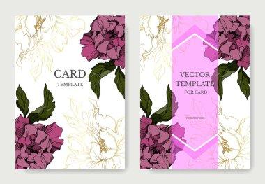 Vector Peony floral botanical flowers. Black and white engraved ink art. Wedding background card decorative border. Thank you, rsvp, invitation elegant card illustration graphic set banner. clip art vector