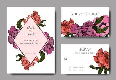 Vector Peony floral botanical flowers. Black and white engraved ink art. Wedding background card decorative border. Thank you, rsvp, invitation elegant card illustration graphic set banner. stock vector