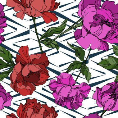 Vector Peony floral botanical flowers. Wild spring leaf wildflower isolated. Black and white engraved ink art. Seamless background pattern. Fabric wallpaper print texture. stock vector