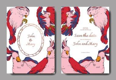 Vector Sky bird cockatoo in a wildlife. Black and white engraved ink art. Wedding background card decorative border. Thank you, rsvp, invitation elegant card illustration graphic set banner. clip art vector