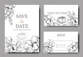 Vektor bazsarózsa virágos botanikai virágok. Fekete-fehér vésett tinta művészet. Esküvői háttér kártya dekoratív határ. Köszönöm, rsvp, meghívó elegáns kártya illusztráció grafikus készlet banner.