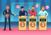 Quizshow. Clevere junge Leute spielen Fernsehquiz mit Showman, Quizspiel-TV-Wettbewerb. Zeichentrickdesign