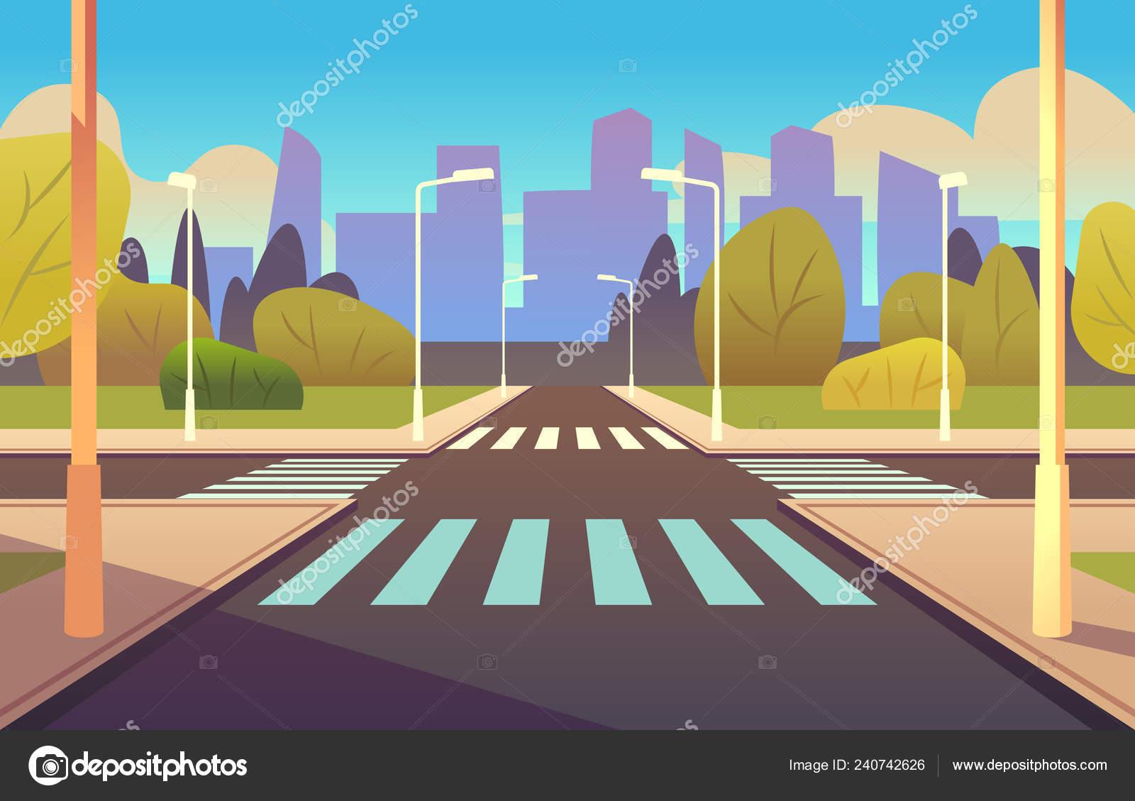 Cartoon crosswalks. Street road crossing highway traffic ...
