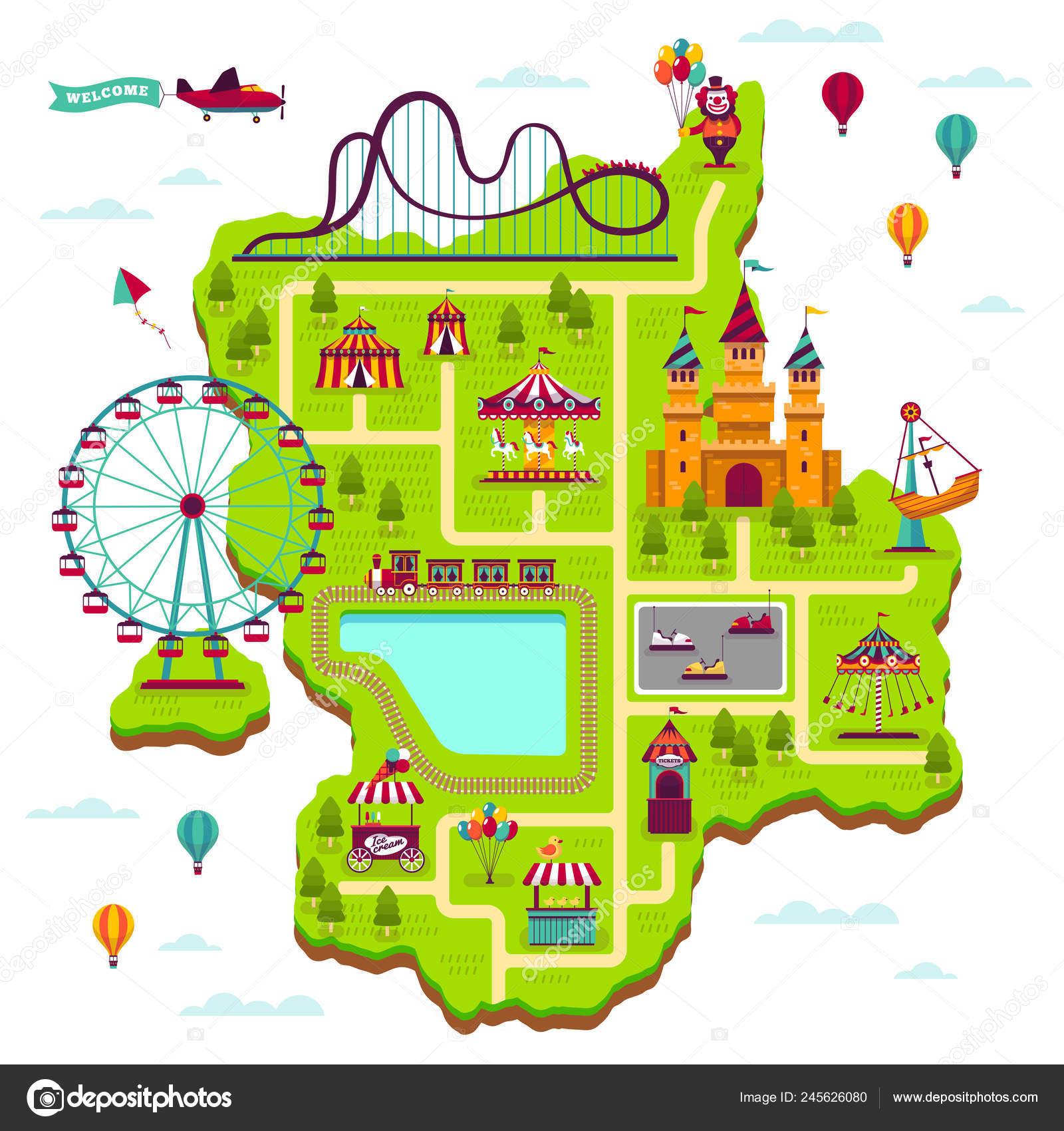 Amut park map. Scheme elements attractions festival amuse ... Scheme Map on