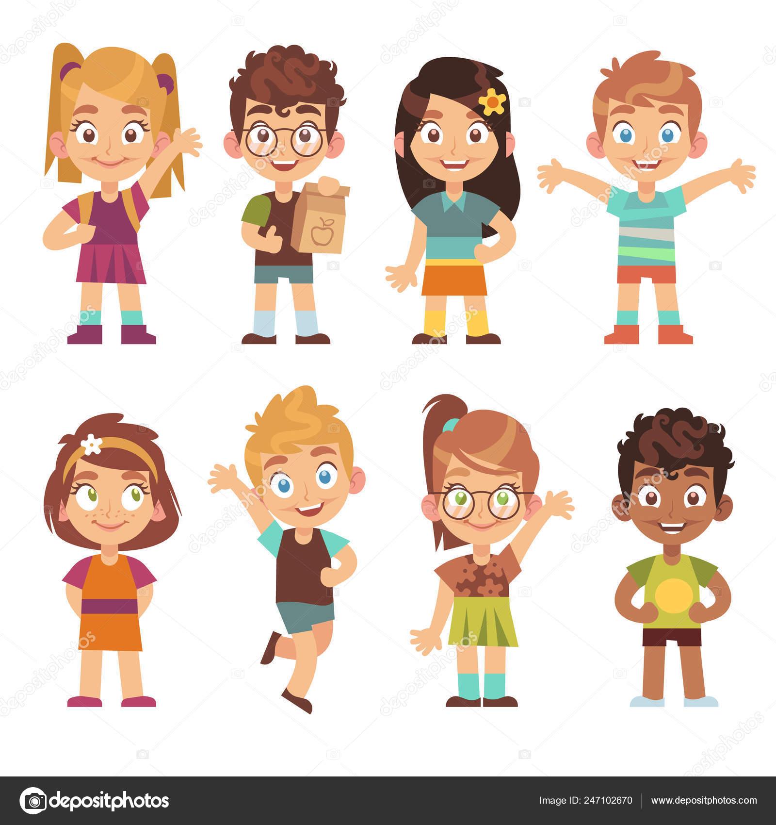 Funny Cartoon Images Of Boys cute cartoon kids set. children girls boys standing kid