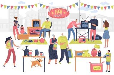 Flea market. People on fashionable shopping second hand retro goods clothes swap meet bazaar. Shoppers on fleas market