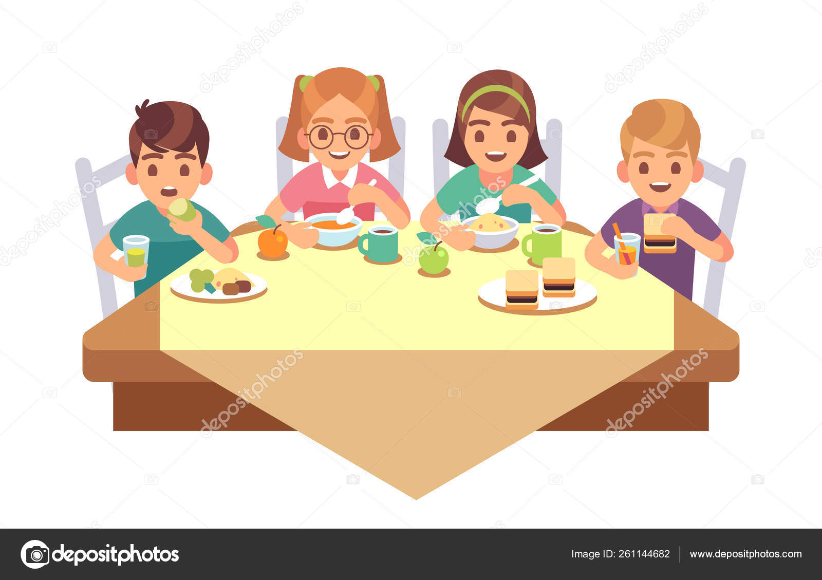 Images Eating Dinner Cartoon Kids Eat Together Children Eating Dinner Cafe Restaurant Happy Child Breakfast Lunch Fast Food Dining Friends Cartoon Vector Concept Stock Vector C Yummybuum 261144682