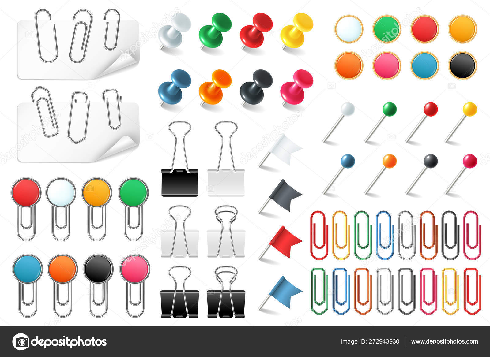 Pins paper clips. Push pins fasteners staple tack pin colored ...