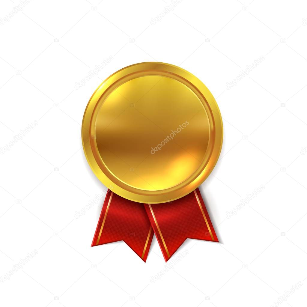 Empty Gold Medal Shiny Golden Round Seal For Certificate Or Winner Star Award Metal Realistic Vector Illustration Premium Vector In Adobe Illustrator Ai Ai Format Encapsulated Postscript Eps Eps Format