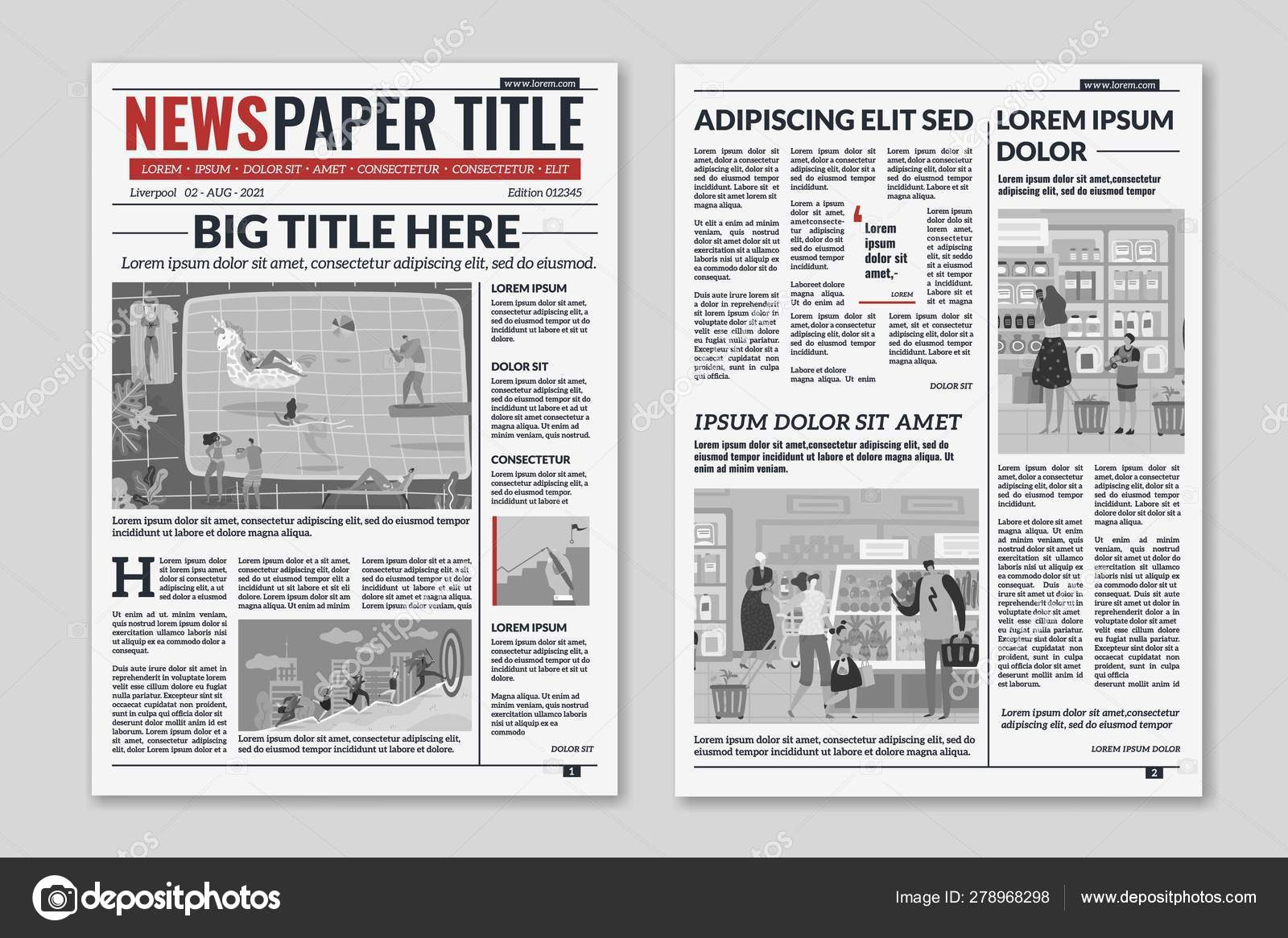 Newspaper Layout Template from st4.depositphotos.com