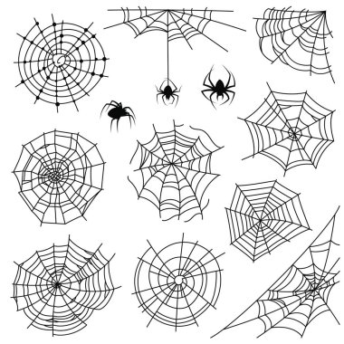 Cobweb. Halloween monochrome spiderweb and dangerous spider. Web silhouettes for creepy horror tattoo and decoration, vector set