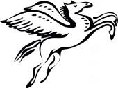 Pegasus, szárnyas lovak oldalnézete, vektor illusztráció